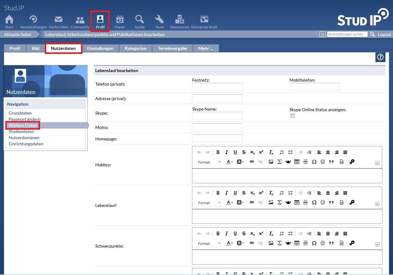 Stud.IP-Nutzerdokumentation - Version 3.3 (deutsch): Weitere Daten